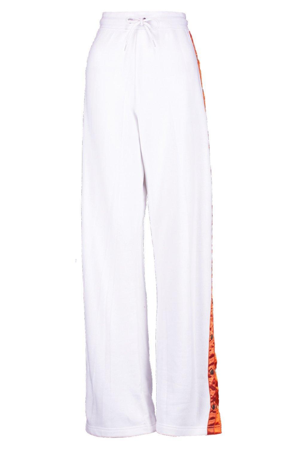 Boohoo Synthetic Double Popper Sweat Joggers in White