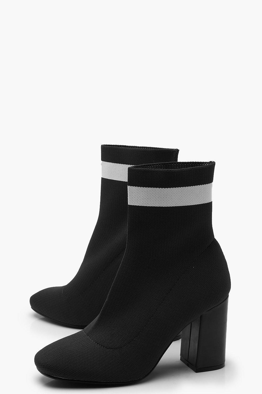 Boohoo Knitted Block Heel Sock Boots in