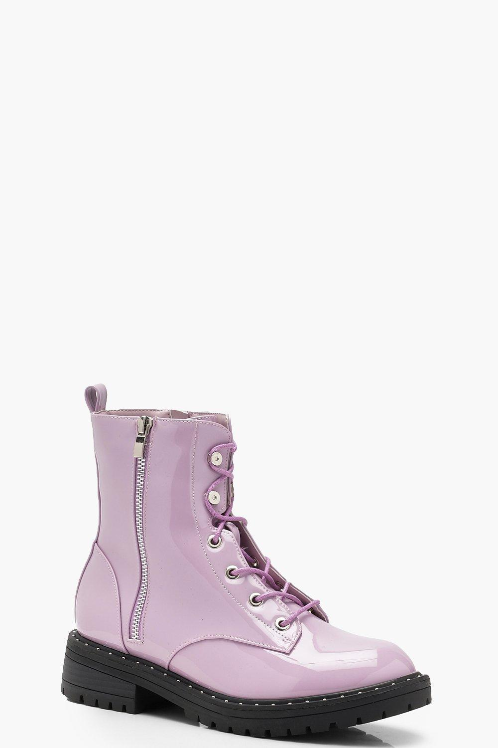 Boohoo Patent Lace Up Hiker Boots in
