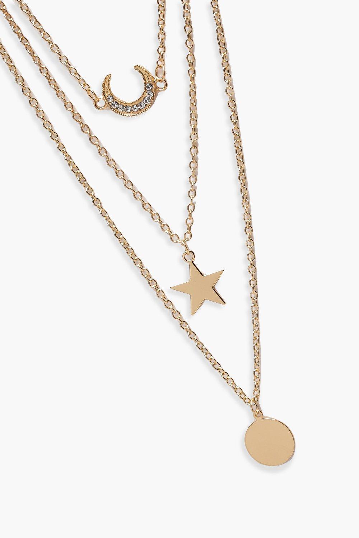 Boohoo Layered Lucky Horseshoe Trinket Necklace in Gold (Metallic)
