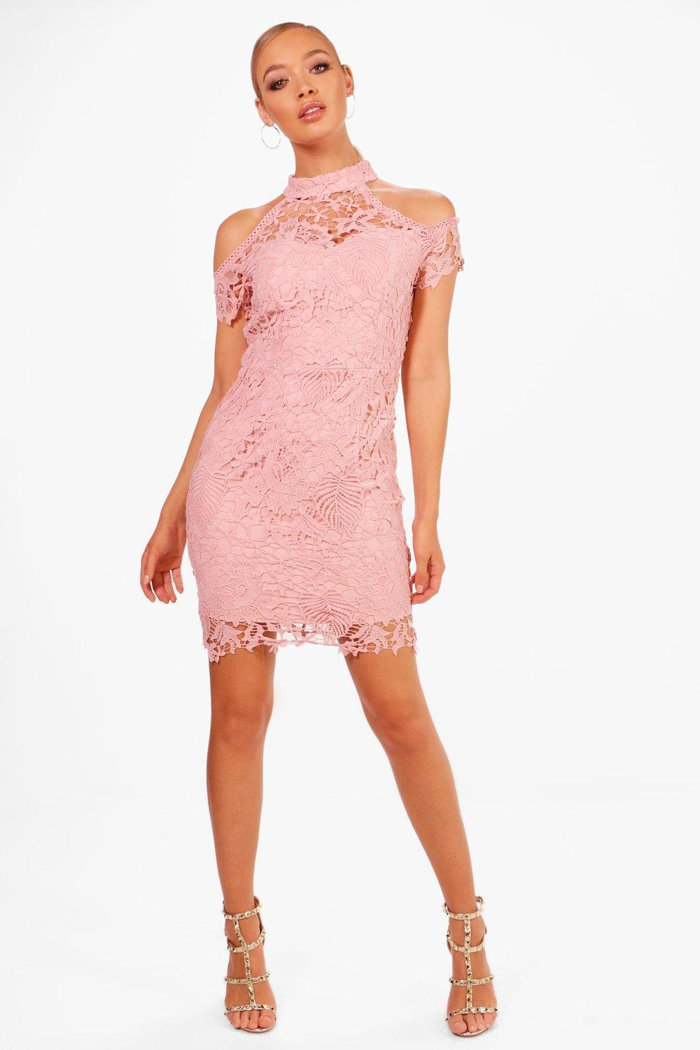 Boohoo Boutique Corded Lace Midi Dress in Pink - Lyst 556acf238