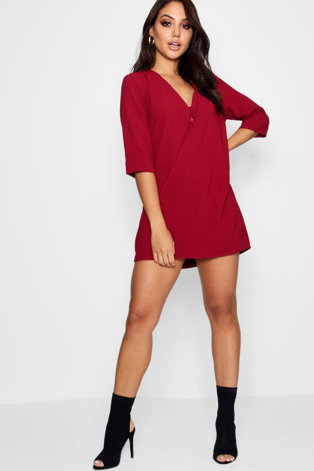 21cc04870b2f Lyst - Boohoo Wrap Front Shift Dress in Red