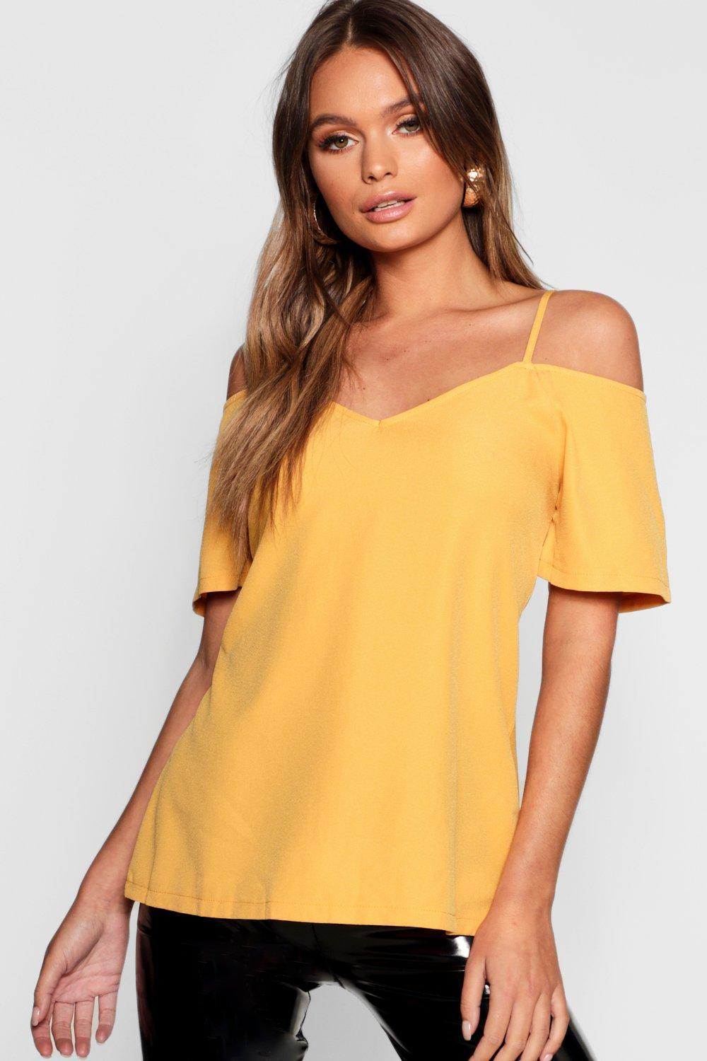 bd68889b05cf1 Boohoo Woven Strappy Open Shoulder Top in Yellow - Lyst