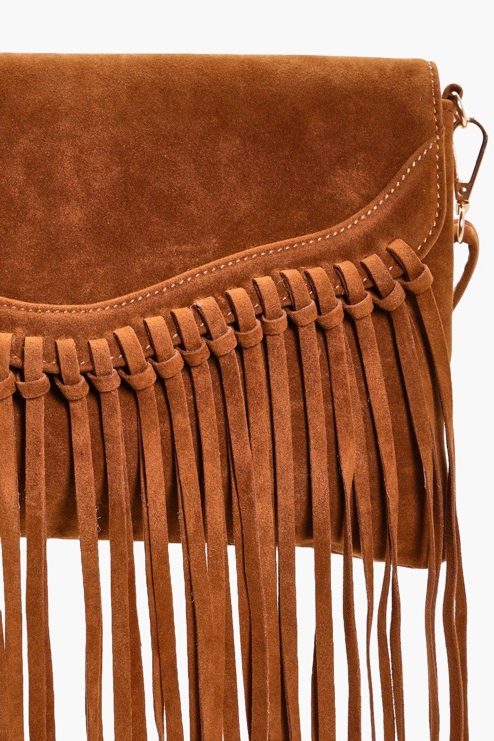 Boohoo Emily Fringed Suedette Cross Body Bag in Tan (Brown)
