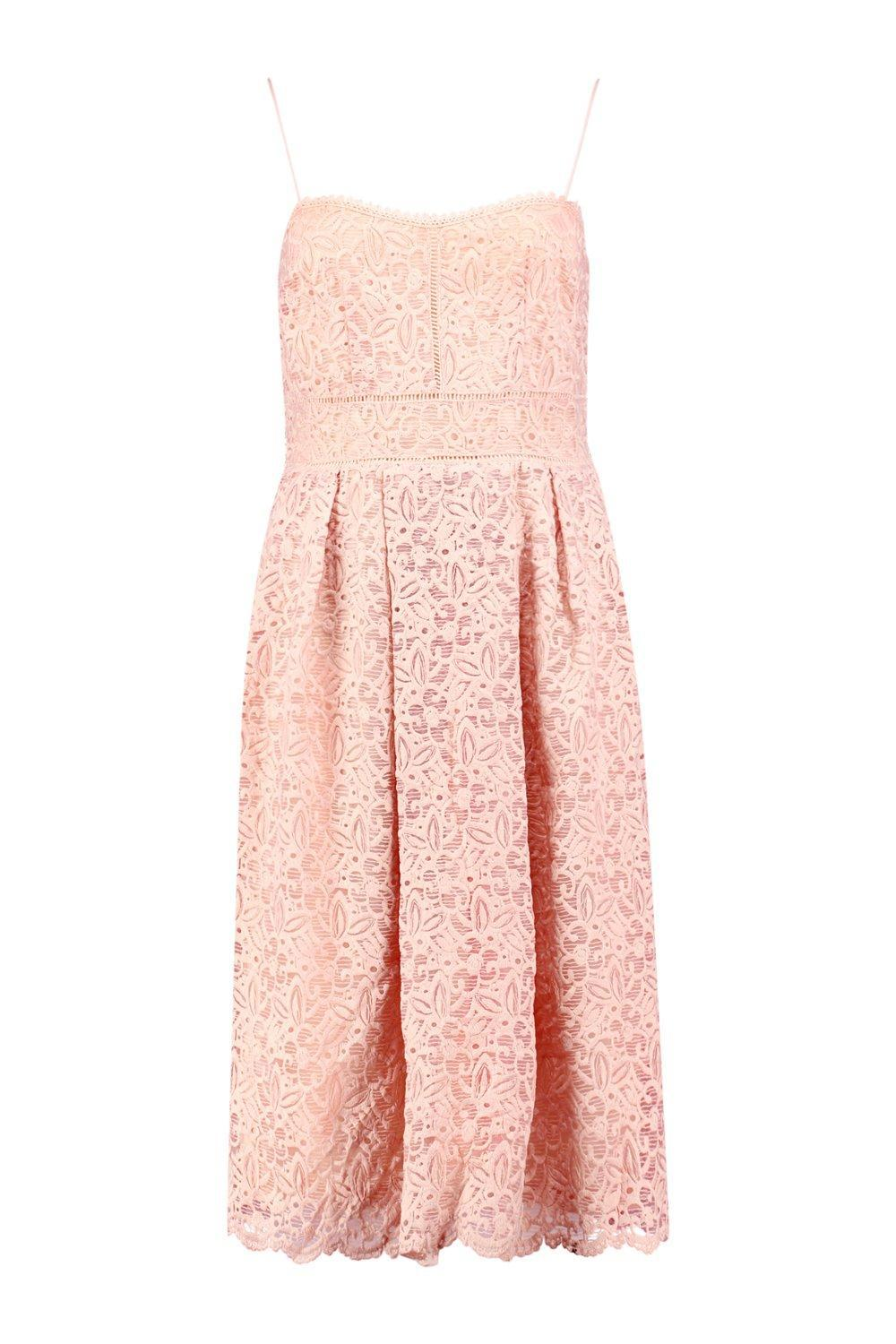 Boohoo - Pink Boutique Embroidered Strappy Midi Skater Dress - Lyst. View  fullscreen 893f2d9c4