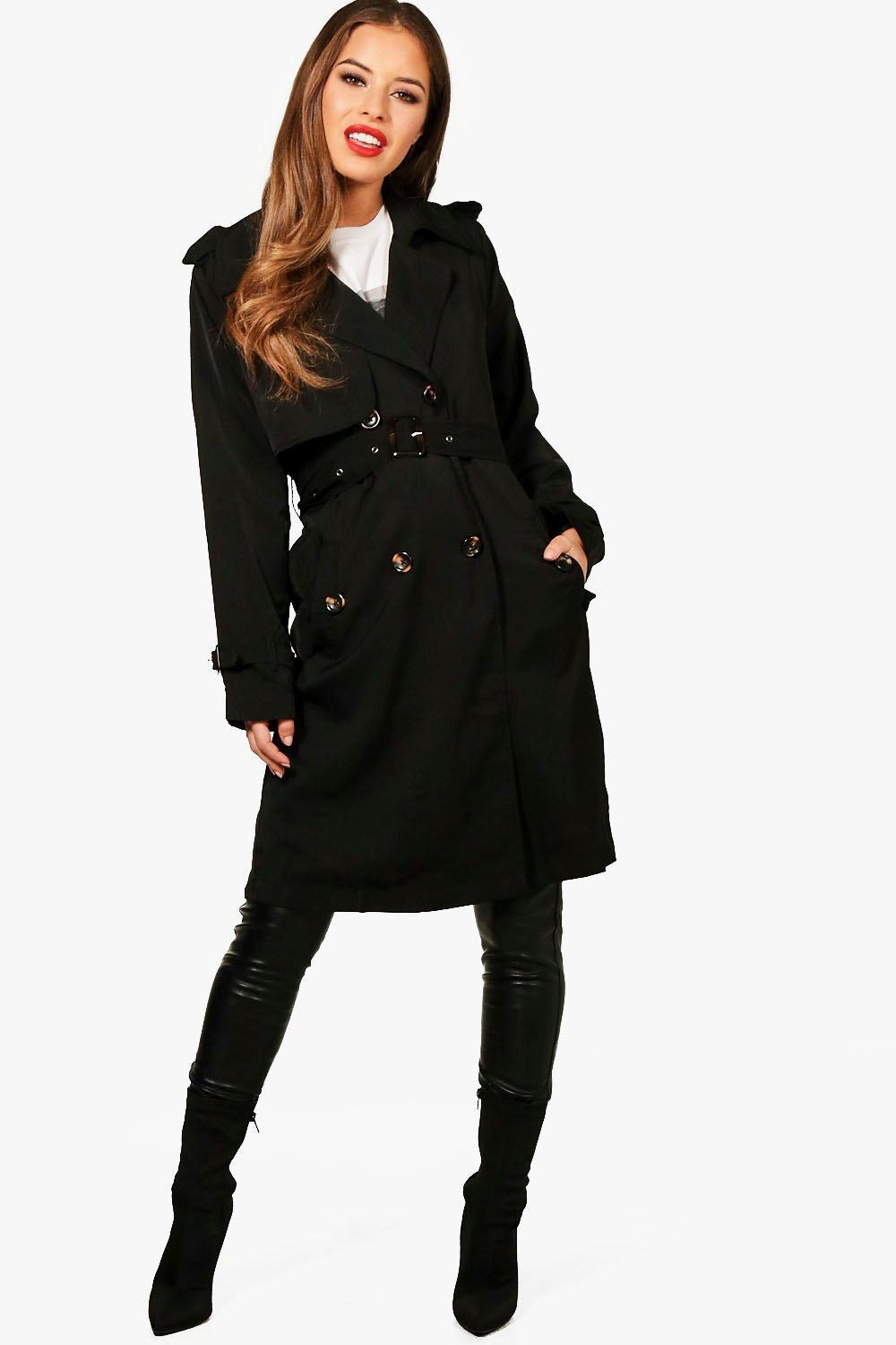 c9fbe30f2fdc Boohoo Petite Longline Trench in Black - Lyst