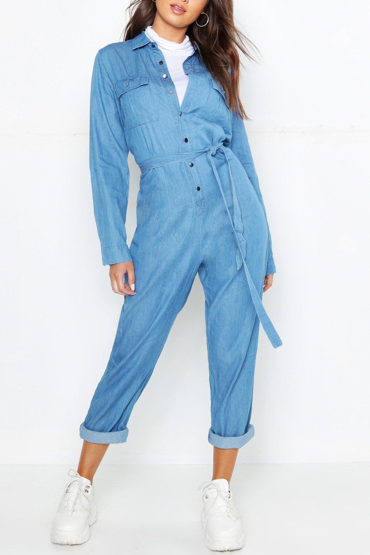 27971e8fc082 Boohoo Tie Waist Utility Denim Boilersuit in Blue - Lyst