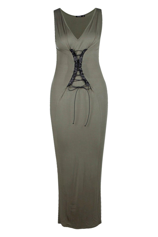 Boohoo Plus Emma Lace Up Maxi Dress in Khaki (Green)