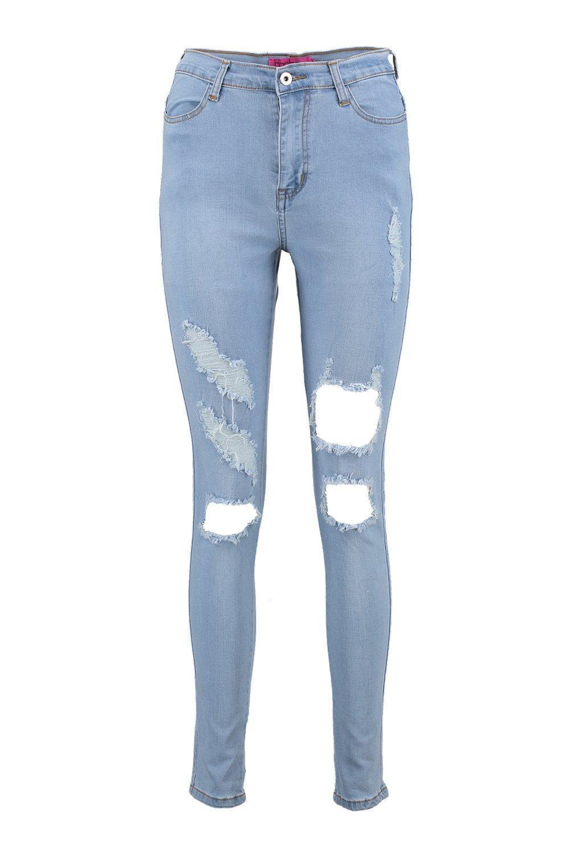 Boohoo Denim Sadie 5-pocket Distressed High Rise Skinny Jeans in Mid Blue (Blue)