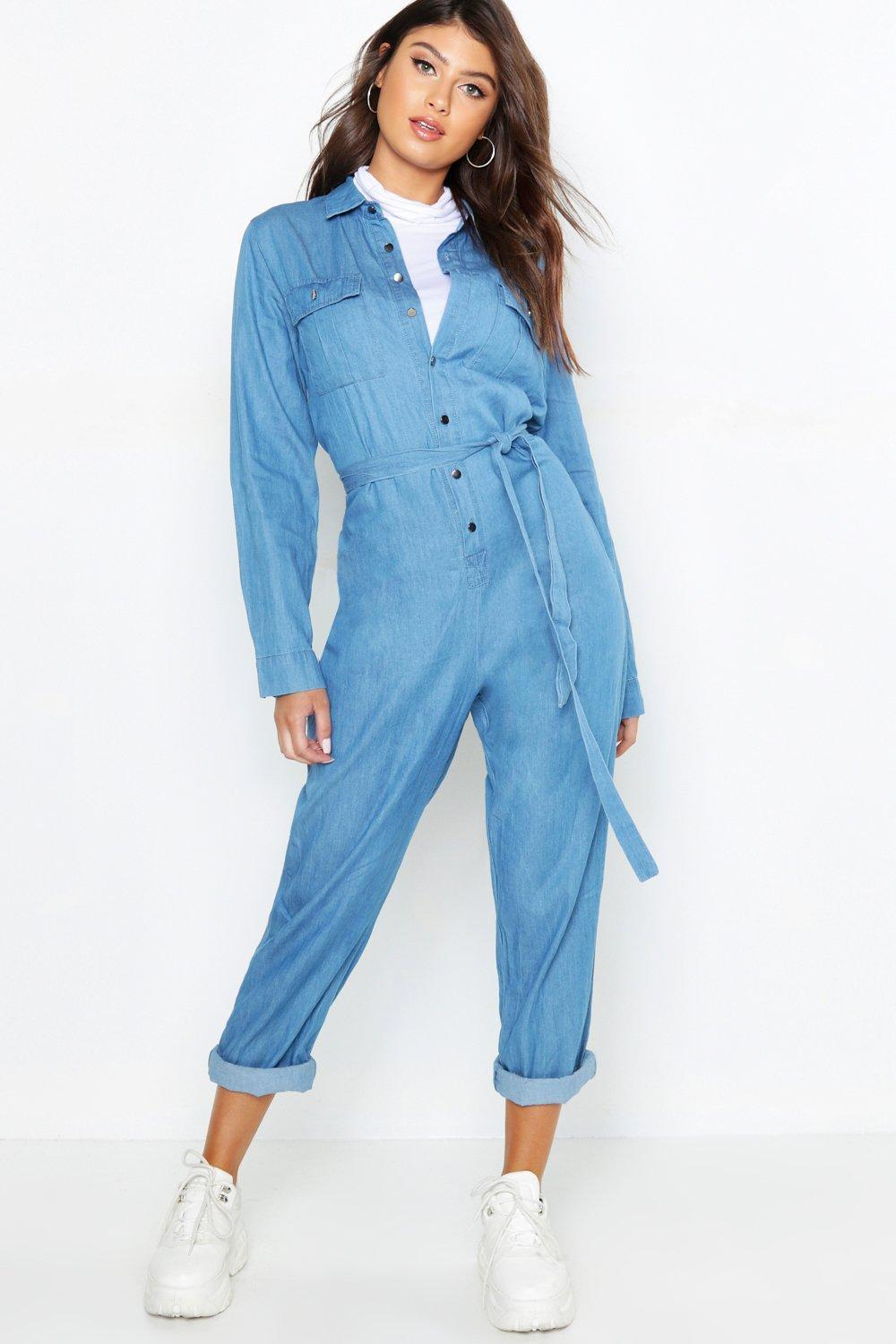 f54ecaf1ab Lyst - Boohoo Tie Waist Utility Denim Boilersuit in Blue
