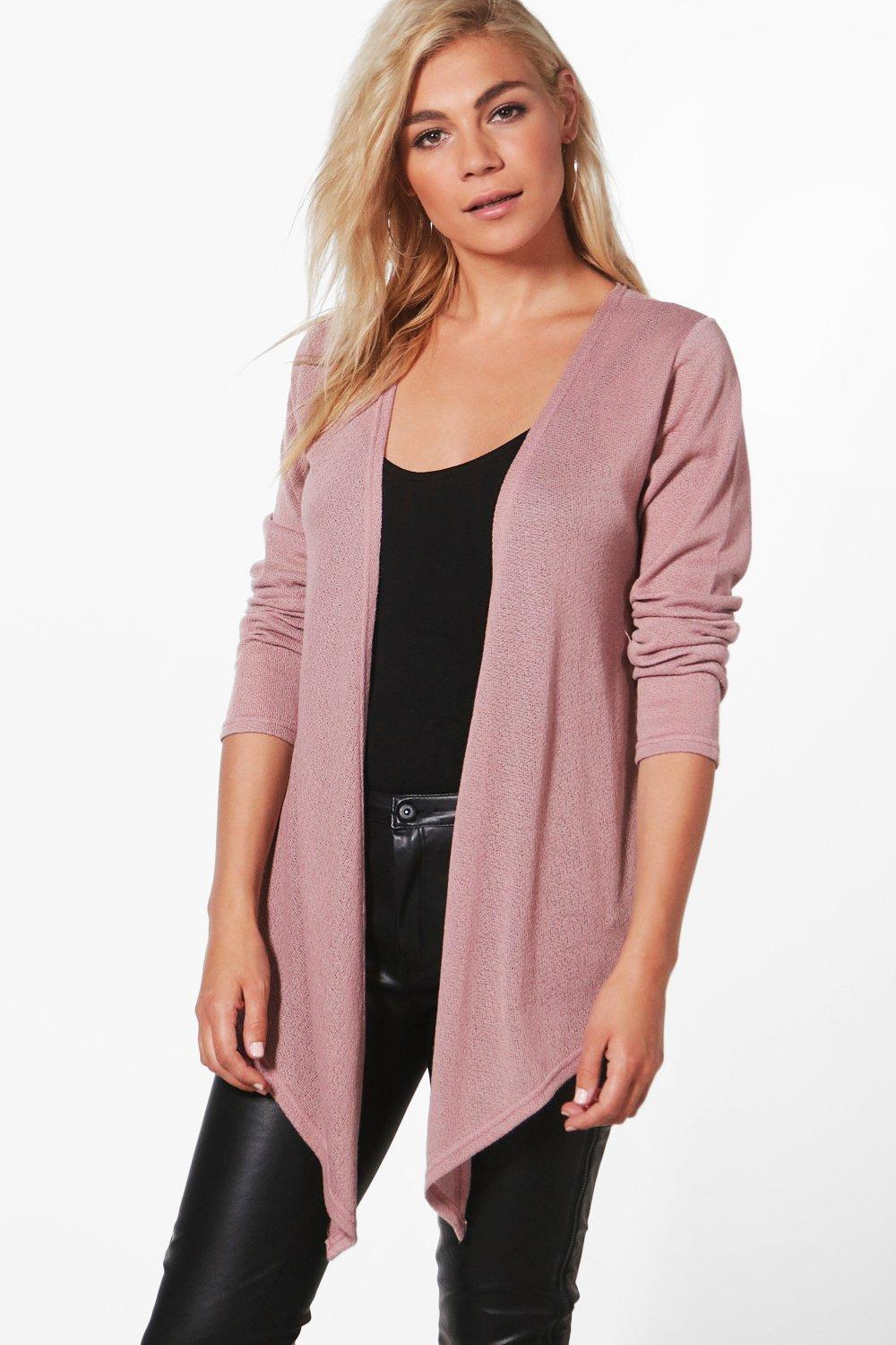 Boohoo Cara Soft Knit Waterfall Cardigan in Pink | Lyst
