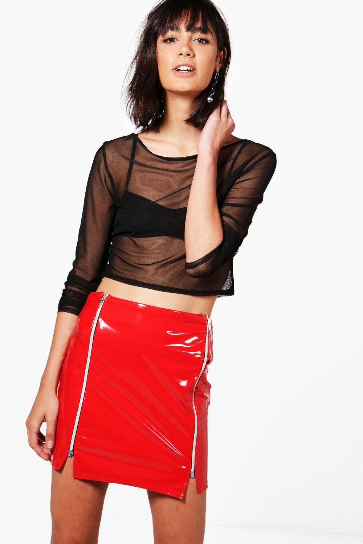 dcffeb4f8 Boohoo Aurora High Shine Patent Zip Front Mini Skirt in Red - Lyst