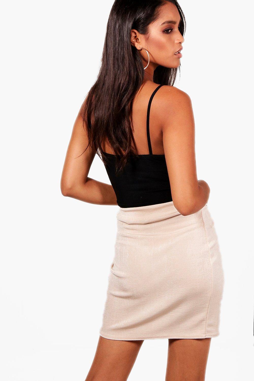 12fdf8779 Boohoo Drape Wrap Textured Slinky Mini Skirt in Black - Lyst
