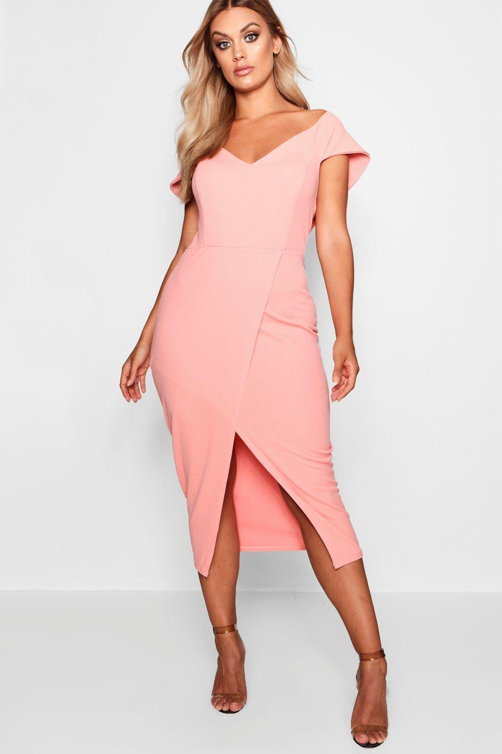 90aeee0b803f ... Plus Off The Shoulder Wrap Midi Dress - Lyst · Visit Boohoo. Tap to  visit site