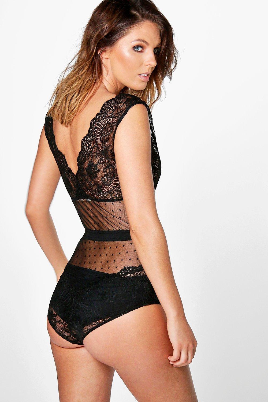 3618dbeb32 Boohoo - Black Premium Lace Bodysuit - Lyst. View fullscreen