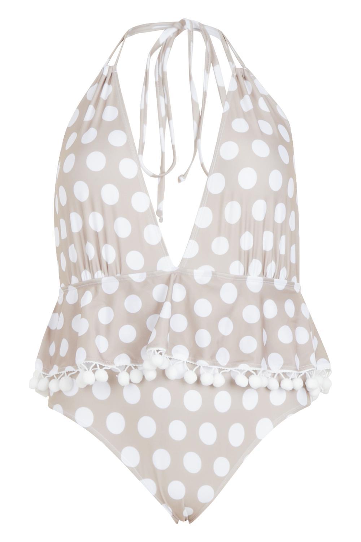 94ba5abd42 Boohoo - White Plus Polka Dot Plunge Pom Pom Swimsuit - Lyst. View  fullscreen
