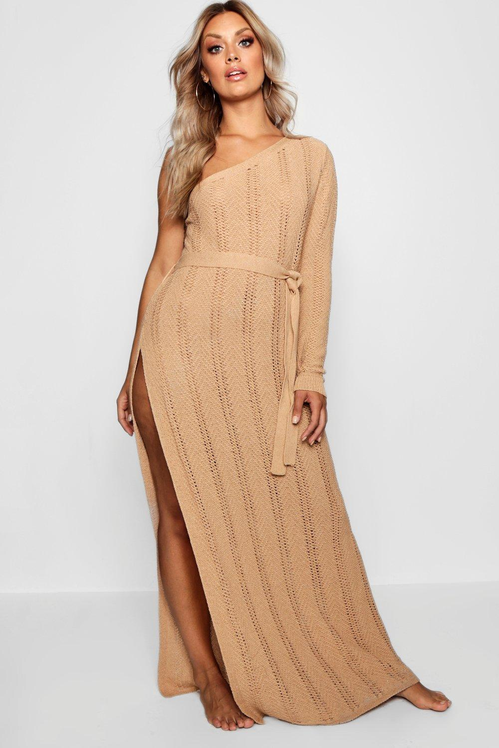 49170348af14 Boohoo - Multicolor Plus One Shoulder Crochet Beach Dress - Lyst. View  fullscreen