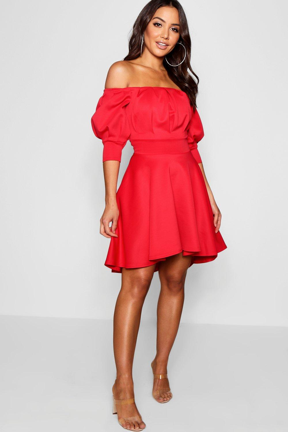 243fb6ee73 Lyst - Boohoo Off The Shoulder Puff Sleeve Skater Dress in Red