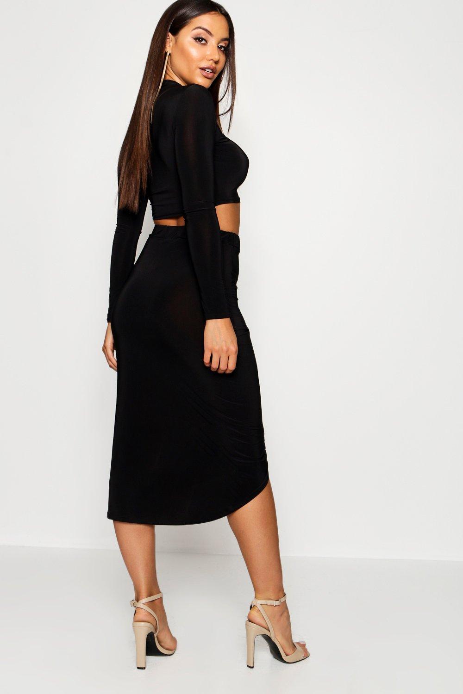 c7098fd780dc Boohoo - Multicolor Mesh Sleeve Wrap Skirt Slinky Co-ord - Lyst. View  fullscreen
