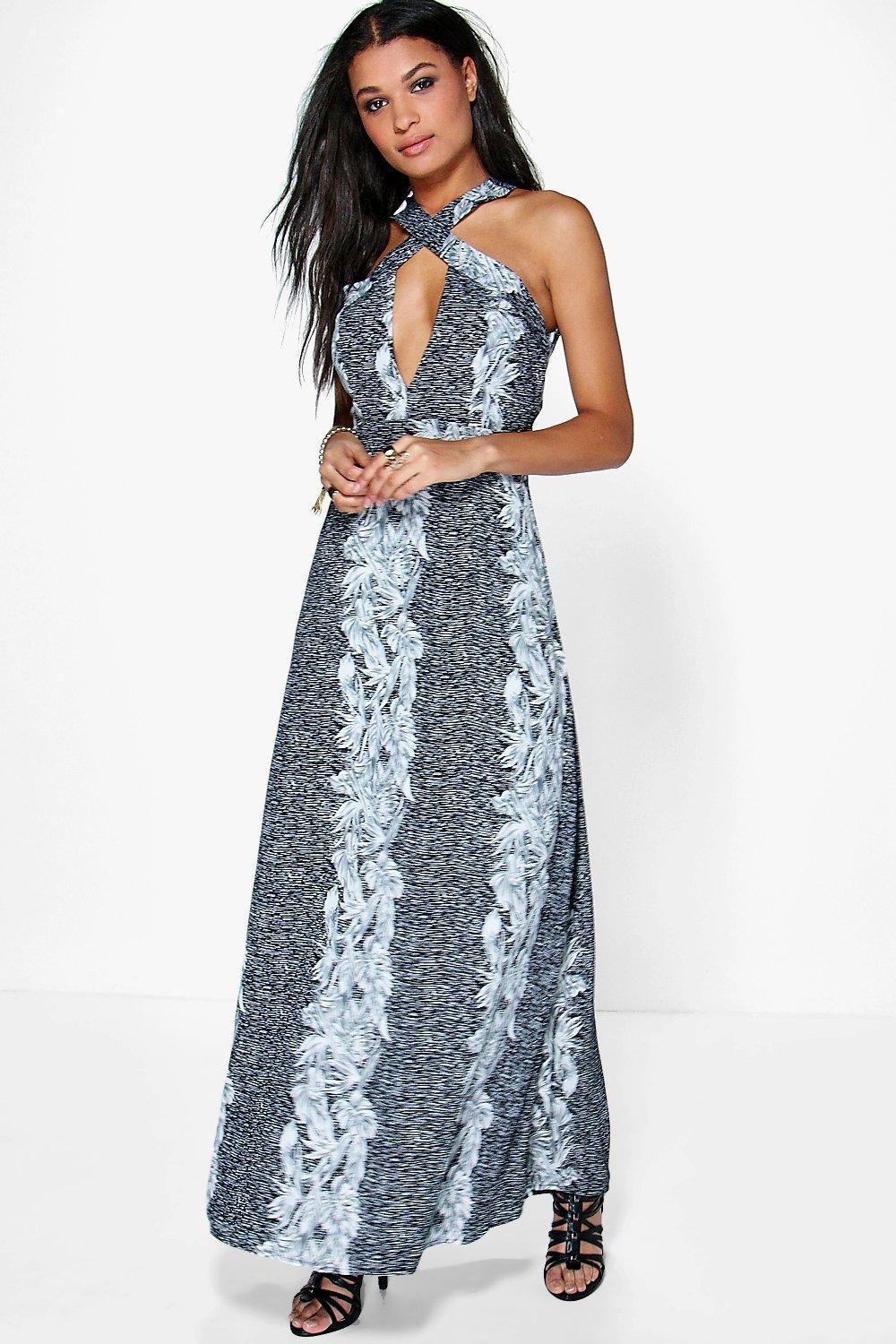 b38e9d7b124 Boohoo Kate Wrap Bodice Backless Floral Maxi Dress in Black - Lyst