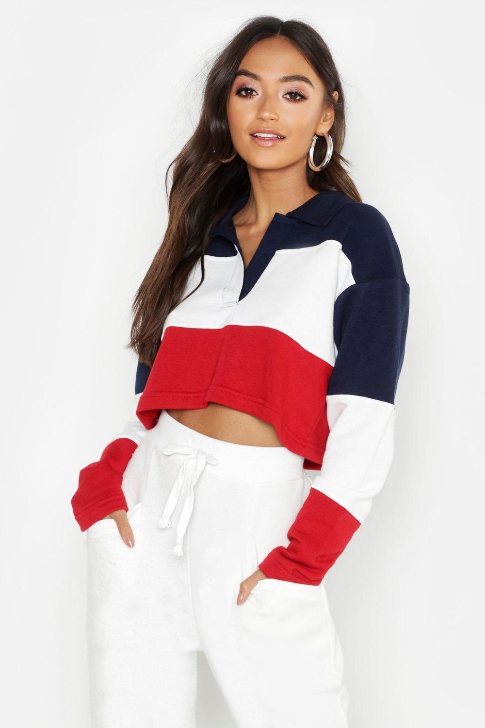 51162d96c1cc8 Lyst - Boohoo Petite Colour Block Rugby Crop Sweat Top in Red - Save 40%