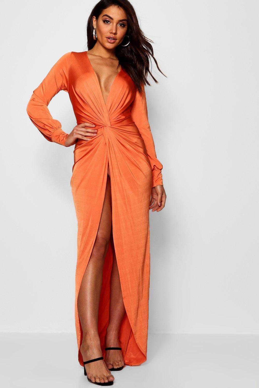 32747eb9681 Boohoo Daria Twist Front Plunge Slinky Maxi Dress in Orange - Lyst