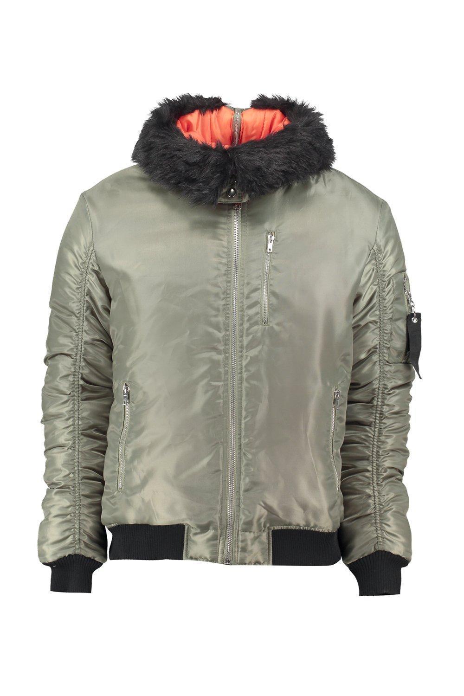 Boohoo Synthetic Nylon Hooded Bomber Jacket in Khaki (Blue) for Men