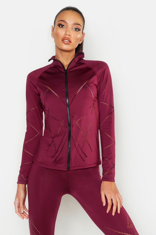 cf42cda7adb0 Boohoo Fit Laser Cut Zip Up Gym Jacket in Red - Lyst