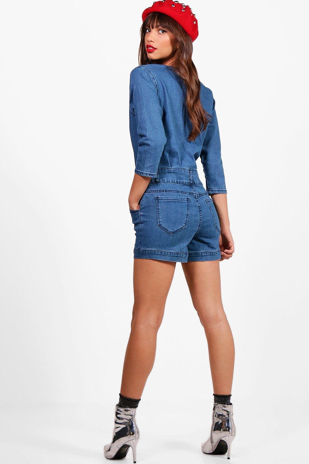 9f0fc6d702 Lyst - Boohoo 3 4 Sleeve Plunge Front Denim Playsuit in Blue