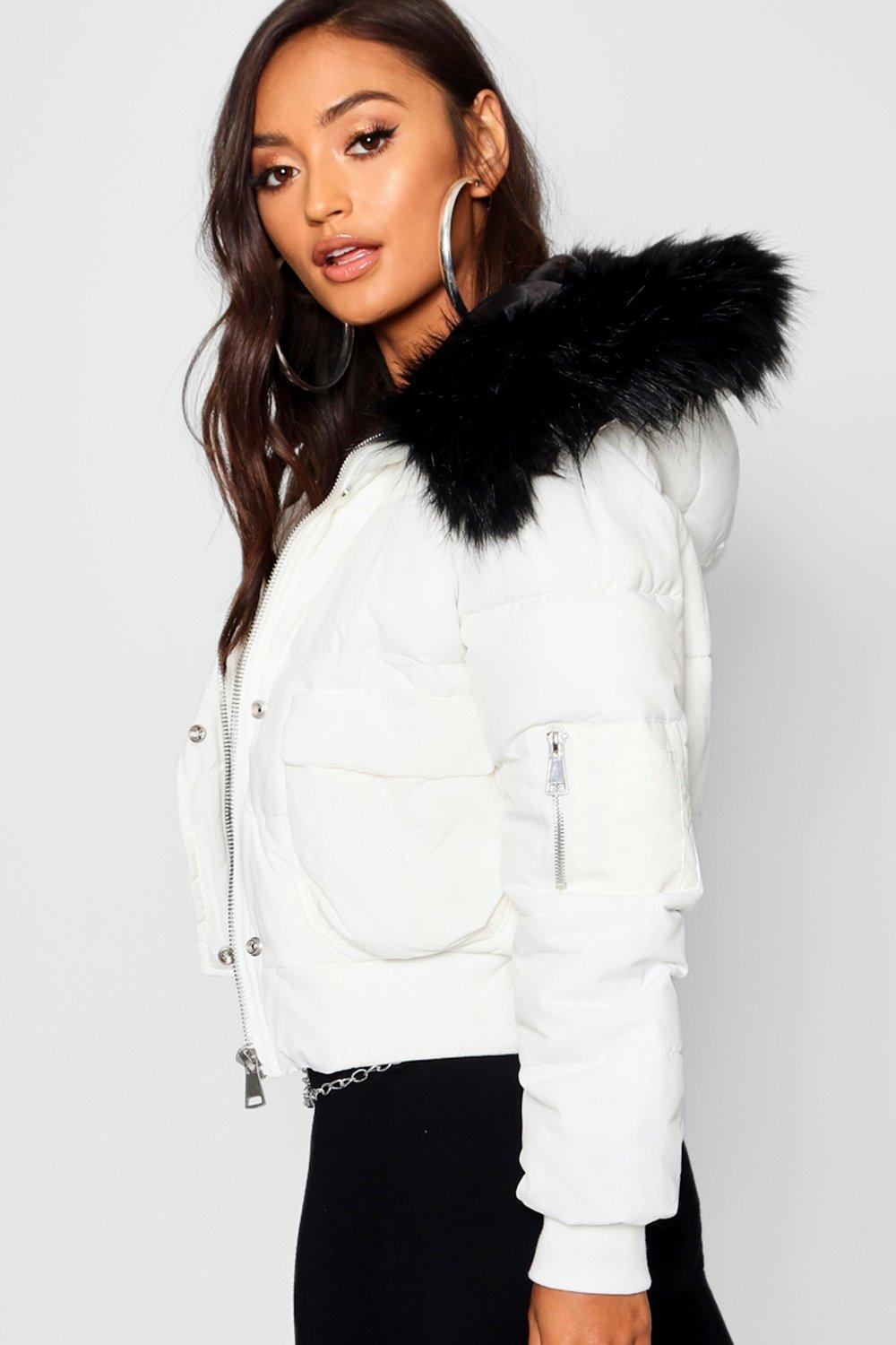17d3c49a1db Boohoo White Petite Luxe Faux Fur Hood Cropped Coat