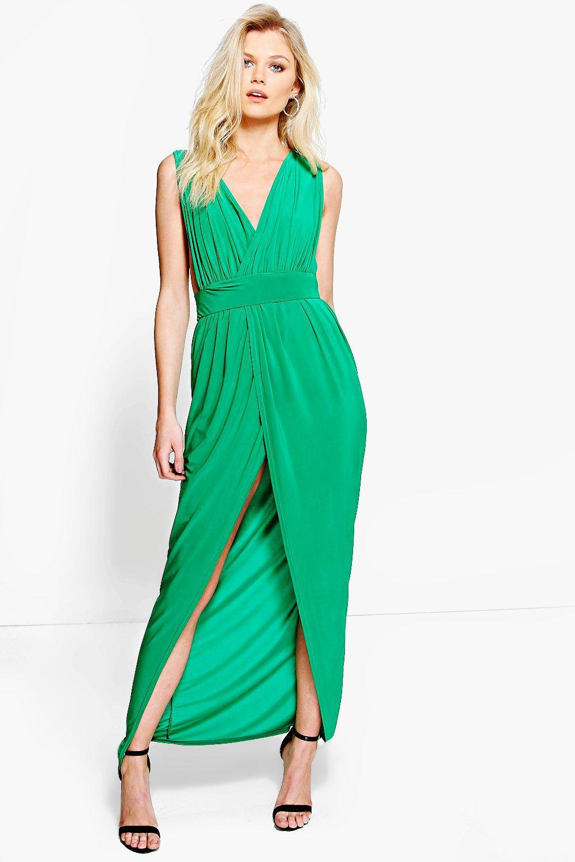 Lyst - Boohoo Petite Sarah Plunge Drape Maxi Dress in Green