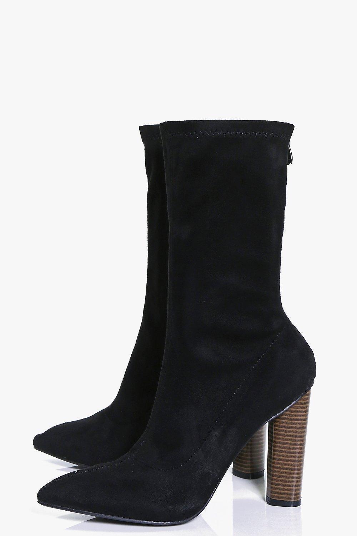 Boohoo Vanessa Stretch Sock Boot in Black