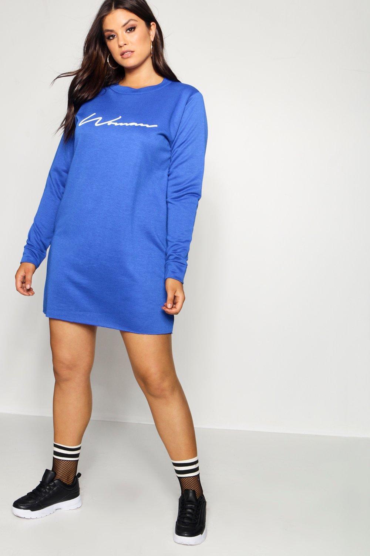 668695a5d5 Boohoo Plus Woman Sweat Dress in Blue - Lyst
