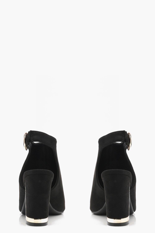 Boohoo Suede Wide Fit Metallic Heel Clip Shoe Boots in Black