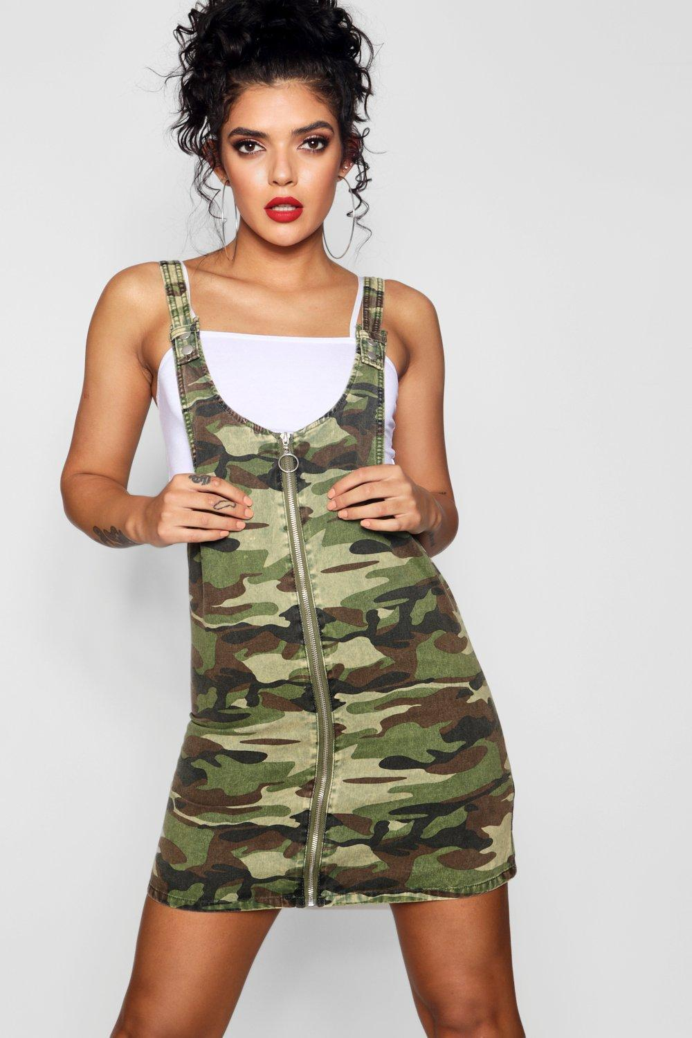 f870fc5a9a Lyst - Boohoo Camo O-ring Zip Through Denim Pinafore Dress in Green