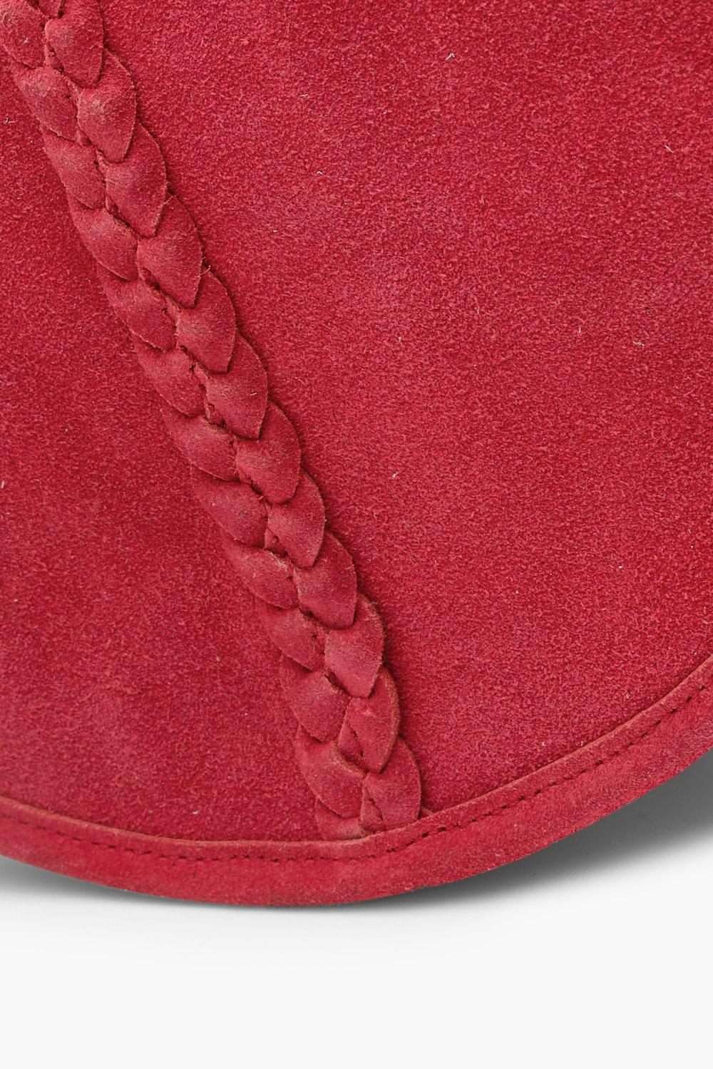 Boohoo Real Suede Semi Circle Cross Body in Red