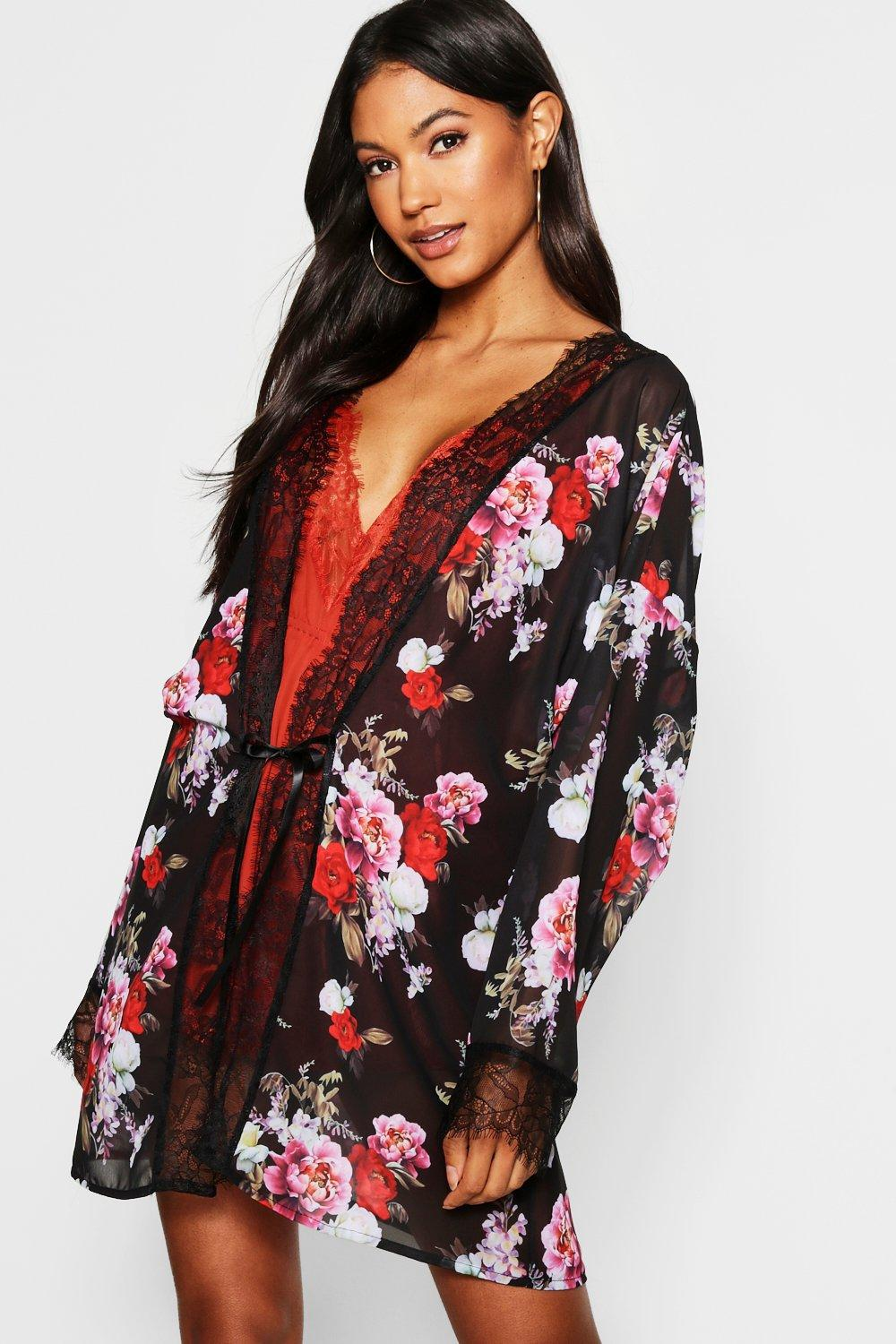9a14a90bd880 Lyst - Boohoo Floral Chiffon & Lace Dressing Gown in Black