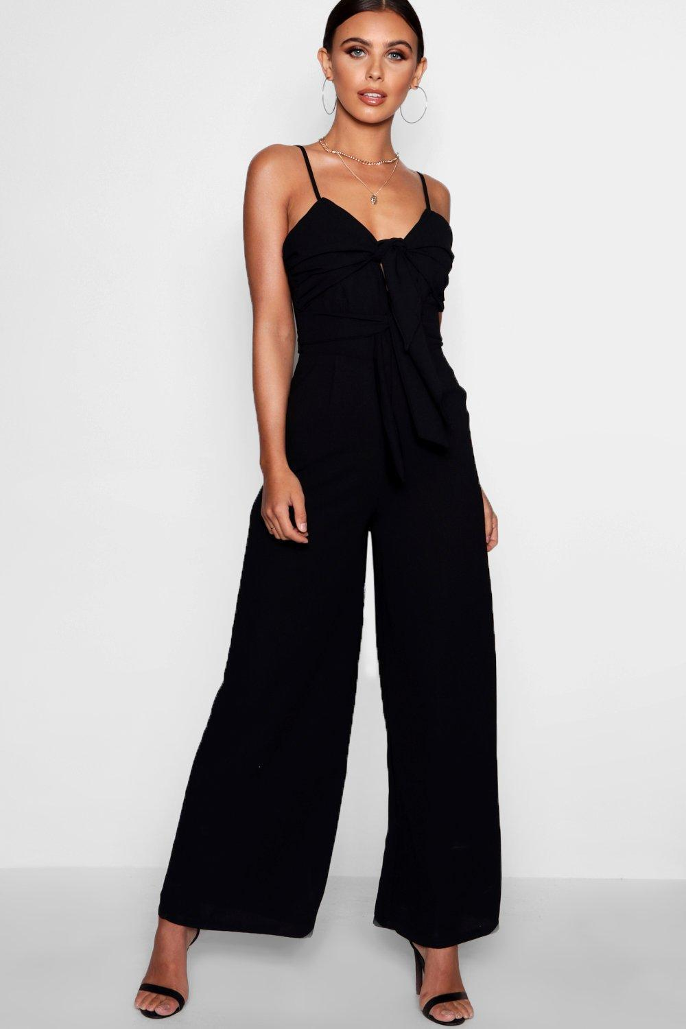 Online Cheapest  Boohoo Petite Double Knot Front Wide Leg Jumpsuit Buy Cheap Price 2018 Cheap Online Pay With Paypal Cheap Online Free Shipping Low Cost mvwABW88v