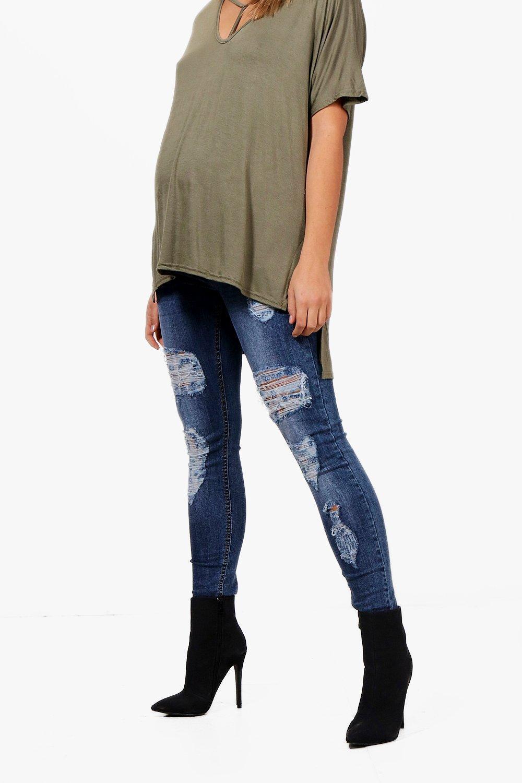 3de5bfe9b5c84 Boohoo - Blue Maternity Over The Bump Ripped Skinny Jeans - Lyst. View  fullscreen