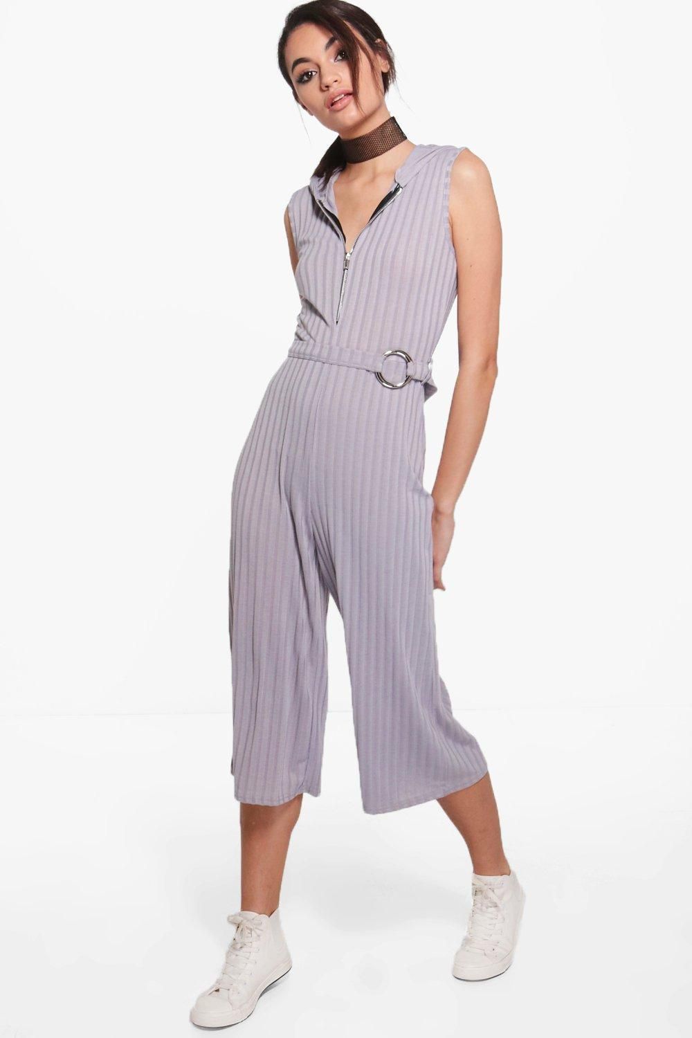 fd723f3e4da Boohoo Sofia Zip Front Hooded Ribbed Jumpsuit in Gray - Lyst