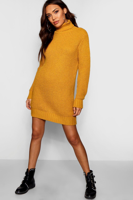 Boohoo Roll Neck Soft Knit Jumper Dress in Yellow - Lyst 03f9bbff9
