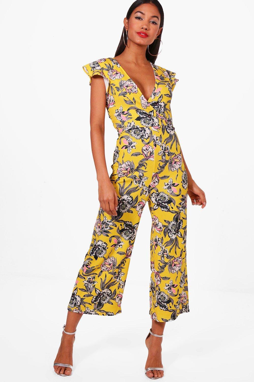 3de1cb68496d Lyst - Boohoo Frill Shoulder Floral Print Culotte Jumpsuit in Yellow