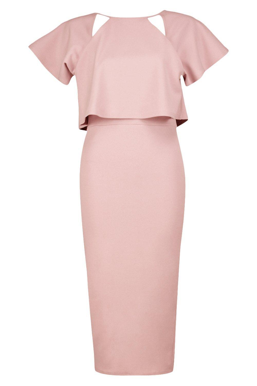 6f1cb15421f1 Boohoo Formal Frill Double Layer Midi Dress in Pink - Lyst