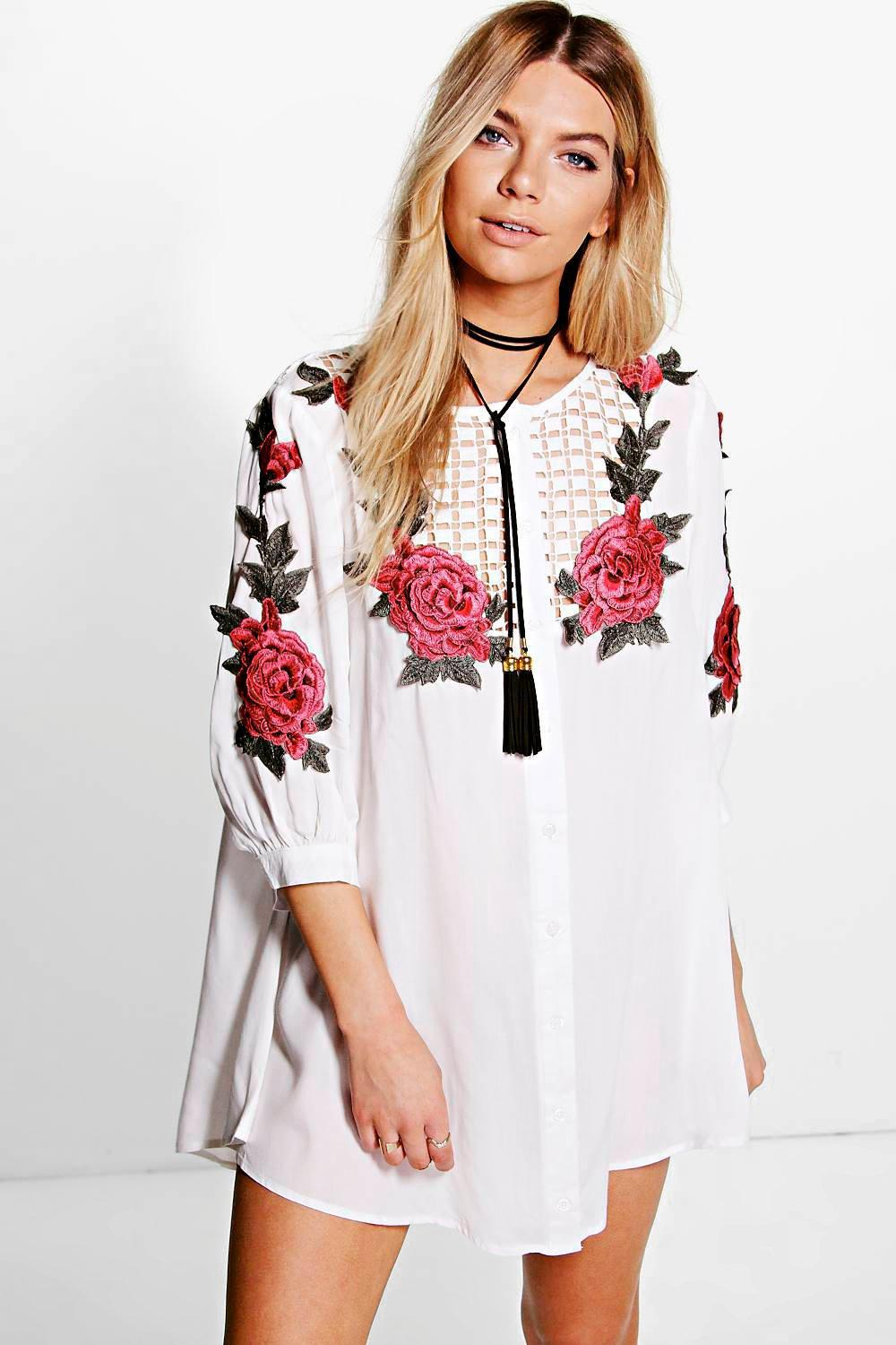 51db97438317 Boohoo Embroidered Shirt Dress in White - Lyst