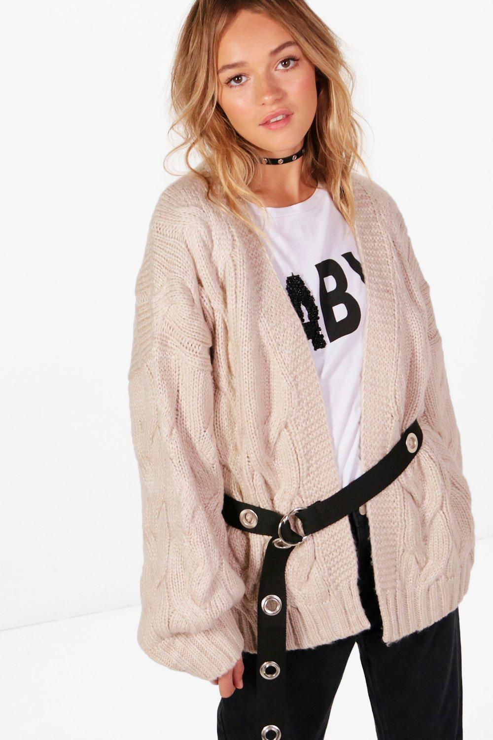 Boohoo Lucy Cable Crop Soft Knit Cardigan in Natural   Lyst