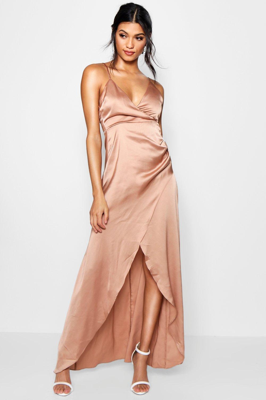 d8b1d8d69758 Boohoo Boutique Satin Wrap Maxi Dress - Lyst