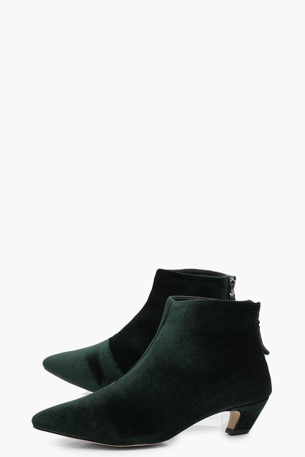 Boohoo Josie Pointed Toe Low Ankle Boot in Green