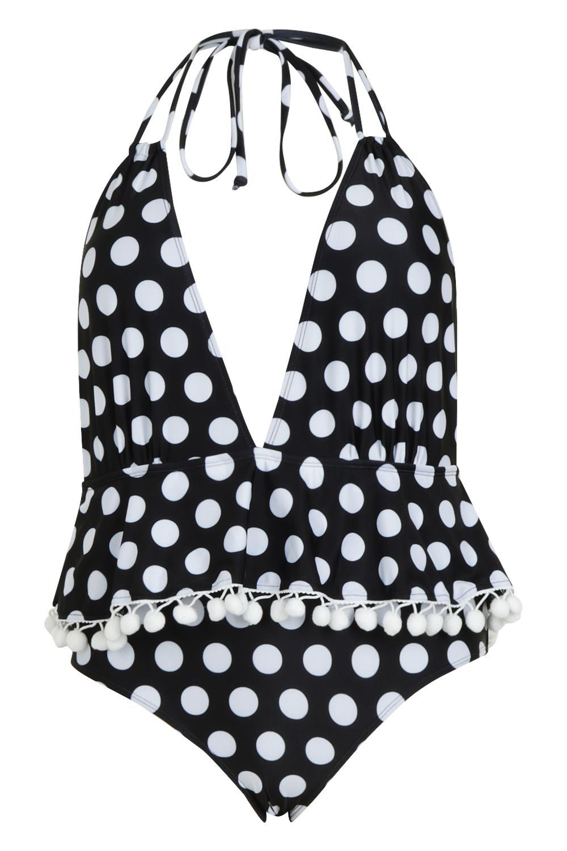 475cd2c300 Boohoo - Black Plus Polka Dot Plunge Pom Pom Swimsuit - Lyst. View  fullscreen