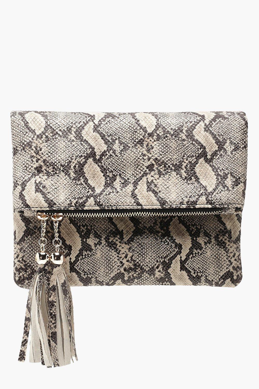 Boohoo. Women s Faux Snake Double Tassel Foldover Clutch Bag f6e5144010012