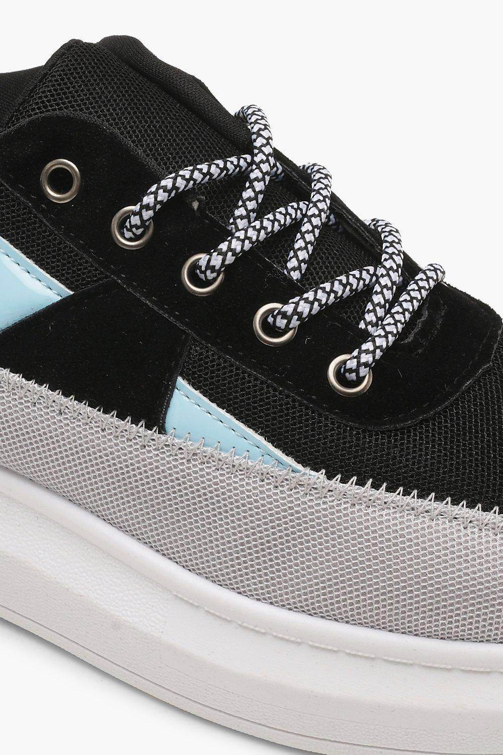 Boohoo Contrast Colour Platform Trainers in Blue